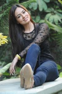 Sana Khan in Black Top & Jeans