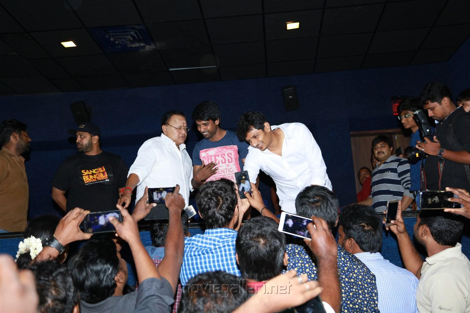 Ike, Radha Ravi, Soori, Jiiva @ Sangili Bungili Kadhava Thorae Success Celebration at Kamala Cinemas