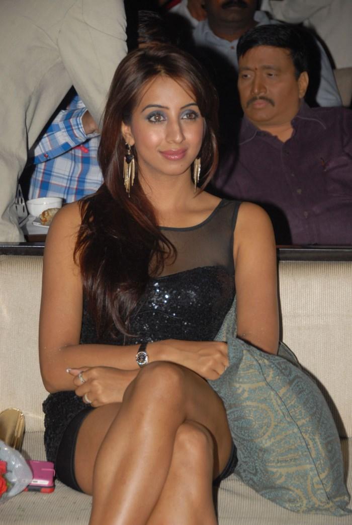 Actress Sanjana Hot Stills in Black Dress Mini Skirt
