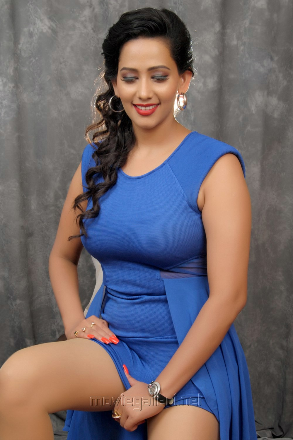 Picture 519699  Actress Sanjana Singh Hot In Blue Dress Photo Shoot Pics  New Movie -6719
