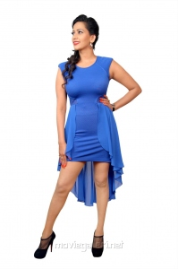 Actress Sanjana Singh Hot in Blue Dress Photo Shoot Pics