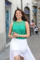 Telugu Actress Kajal Hot Images in Bright Cyan Top & White Skirt