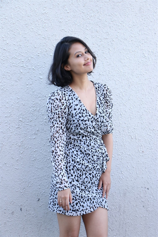 Actress Sasha Chettri Cute Images @ Sri Kalachitra Movie Production No.1 Movie Press Meet