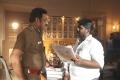 Aadukalam Naren, Director SR Prabhakaran @ Sathriyan Movie Working Stills