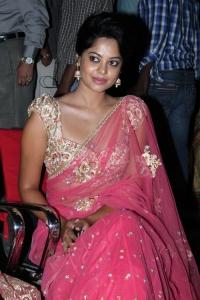 Actress Bindu Madhavi Hot in Saree at Sattam Oru Iruttarai Movie Audio Launch