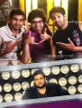 Santhanam, Premgi, Arya & Thaman in Settai Movie Audio Launch Invitation Posters