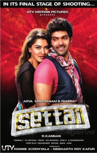 Hansika Motwani, Arya in Settai Movie Posters
