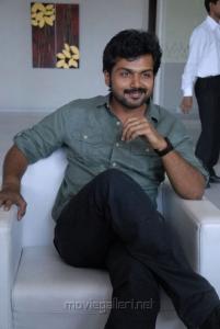 Actor Karthi at Sakuni Movie Success Meet Stills