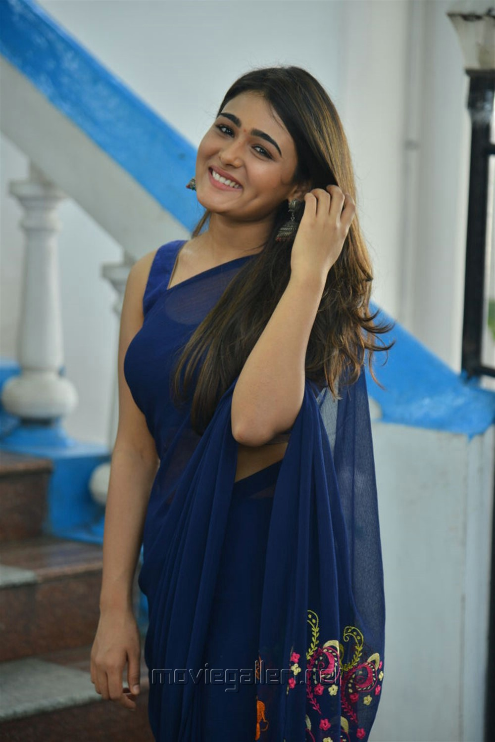 Jwala Movie Actress Shalini Pandey Blue Saree Photos