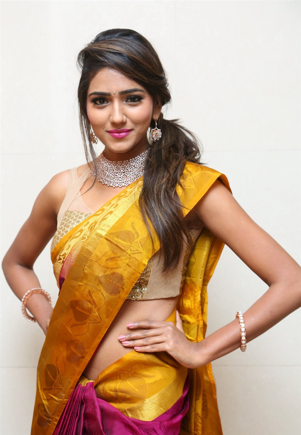 Telugu Actress Shalu Chourasiya Hot in Silk Saree Stills