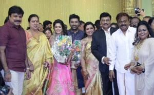 Vijayakanth, Premalatha, LK Sudheesh @ Shanthanu Keerthi Wedding Reception Stills