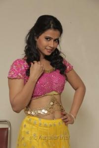 Sharmila Mandre Hot Stills in Pink Top & Yellow Orange Long Skirt