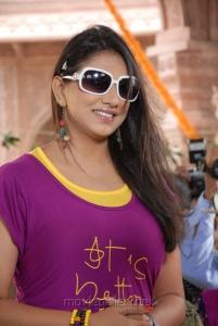 Bhaja Bhajantrilu Movie Actress Shivani Hot Stills in Violet T Shirt