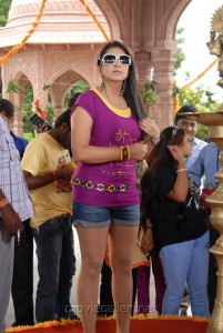 Actress Shivani in Violet T Shirt and Jean Short