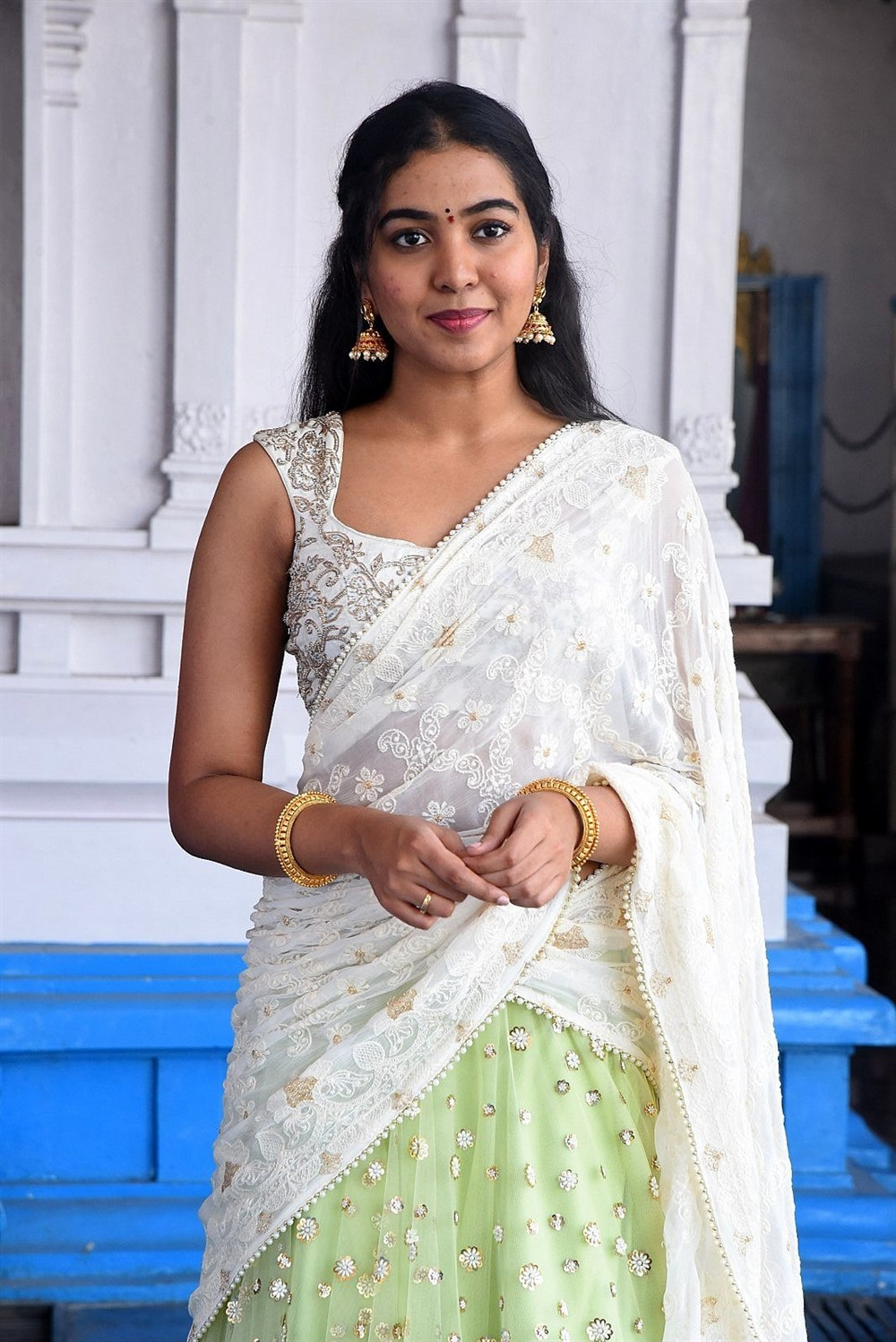 Actress Shivathmika Half Saree Images @ Vidhi Vilasam Movie Opening