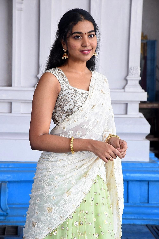 Actress Shivathmika Half Saree Images @ Vidhi Vilasam Movie Opening