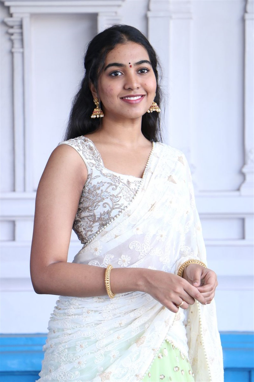 Telugu Actress Shivathmika Rajashekar White Half Saree Images