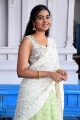 Telugu Actress Shivathmika Rajashekar White Half Saree Images