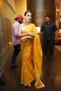 Actress Shraddha Das Saree Hot Photos @ PSV Garuda Vega Trailer Launch