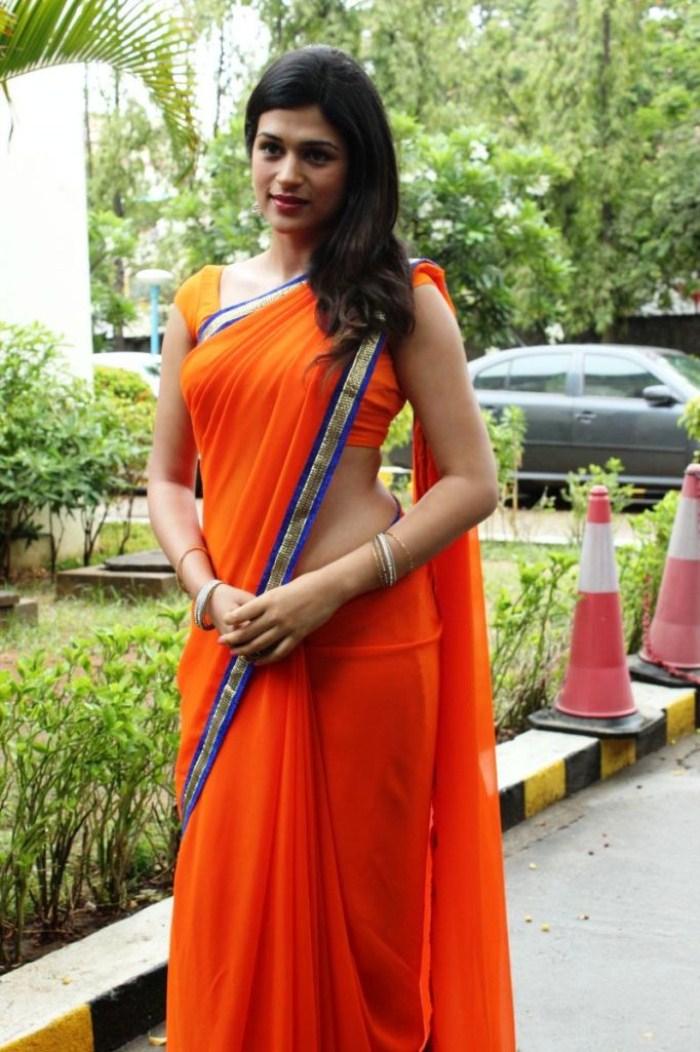 picture 266442 shraddha das in orange saree hot stills