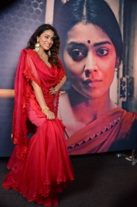 Shriya Saran Red Churidar Photos @ Gamanam Press Meet