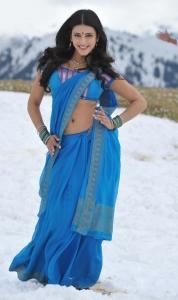 Gabbar Singh Heroine Shruthi Hassan Hot Blue Saree Stills