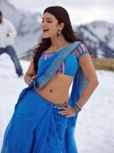 Shruthi Hassan Hot in Blue Saree Pics