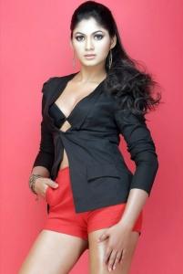 Shruthi Reddy Hot Photoshoot Stills in Black Top Red Shorts
