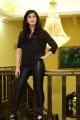Actress Shruti Haasan in Black Relaxed Shirt & Tight Leather Pants