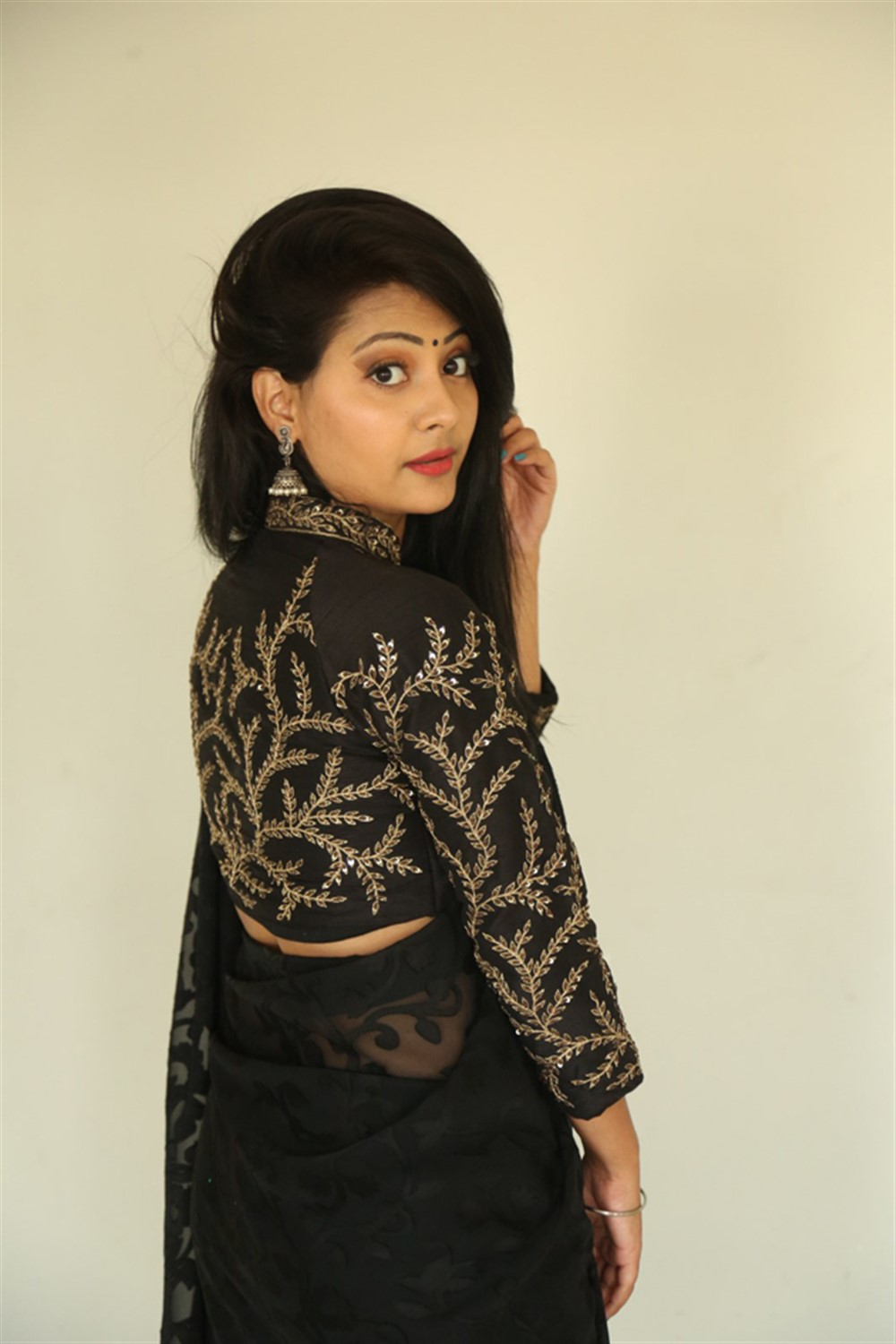 Actress Shubhangi Pant Black Saree Images @ Darpanam Press Meet
