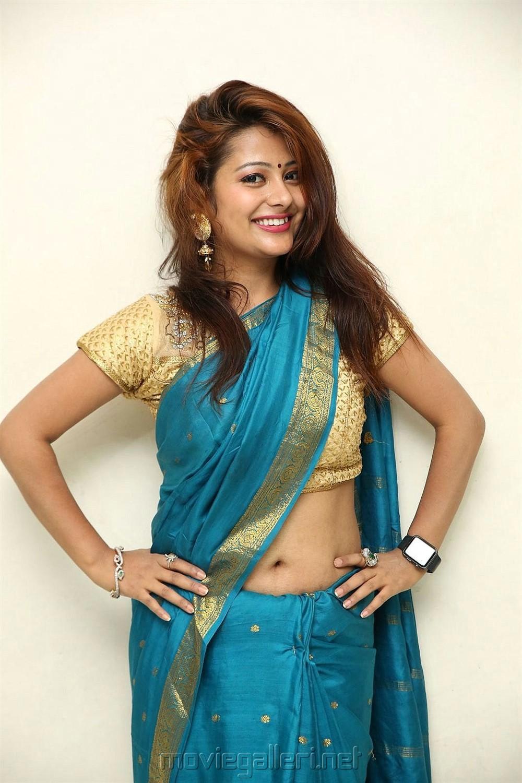 Telugu Actress Shubhangi Pant Photos in Blue Saree