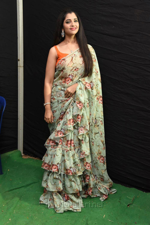 Anchor Shyamala Saree Latest Photos @ Kavacham Movie Audio Launch