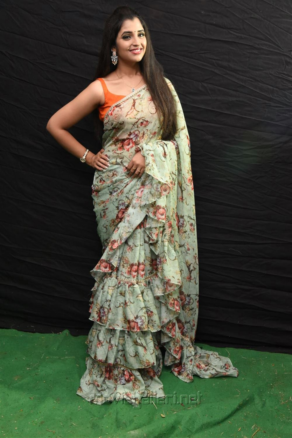 Anchor Shyamala Saree Latest Photos @ Kavacham Movie Audio Launch
