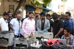 P Vasu, Raghava Lawrence, Sarvesh Murari @ Sivalinga Movie Working Stills