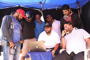 Sarvesh Murari, S Thaman, Raghava Lawrence, P Vasu @ Sivalinga Movie Working Stills