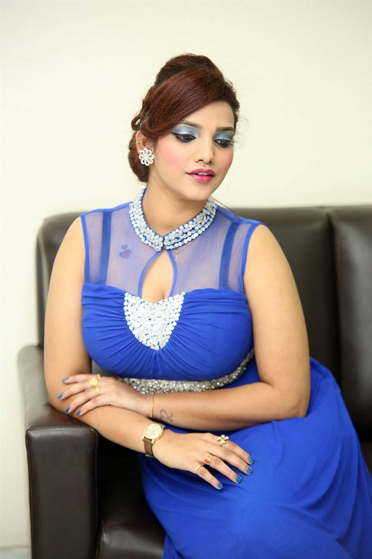 Actress SK Attiya Photos in Blue Dress