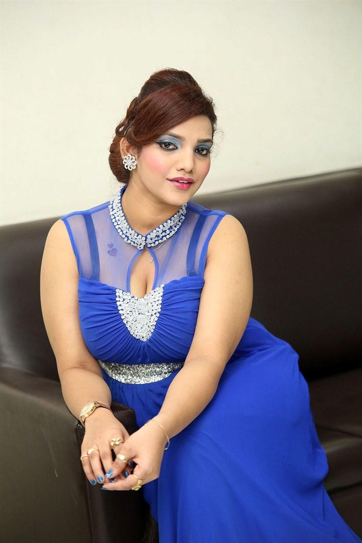 Actress SK Attiya in Blue Dress Photos