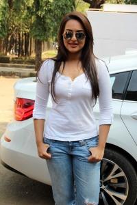 Actress Sonakshi Sinha Hot Stills in White Dress