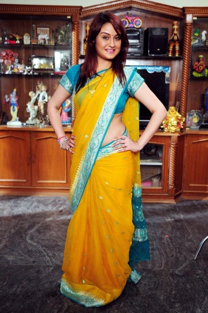 Telugu Actress Sonia Agarwal Photos in Yellow Saree