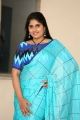 Anchor Sonia Chowdary Blue Saree Images @ KS 100 Teaser Launch