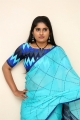 Telugu Anchor Sonia Chowdary Images in Blue Designer Saree