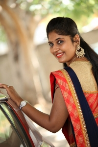 Telugu TV Anchor Sonia Chowdary in Saree Photos