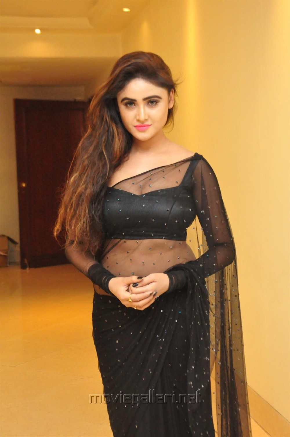 Actress Sony Charishta Hot in Black Saree Photos