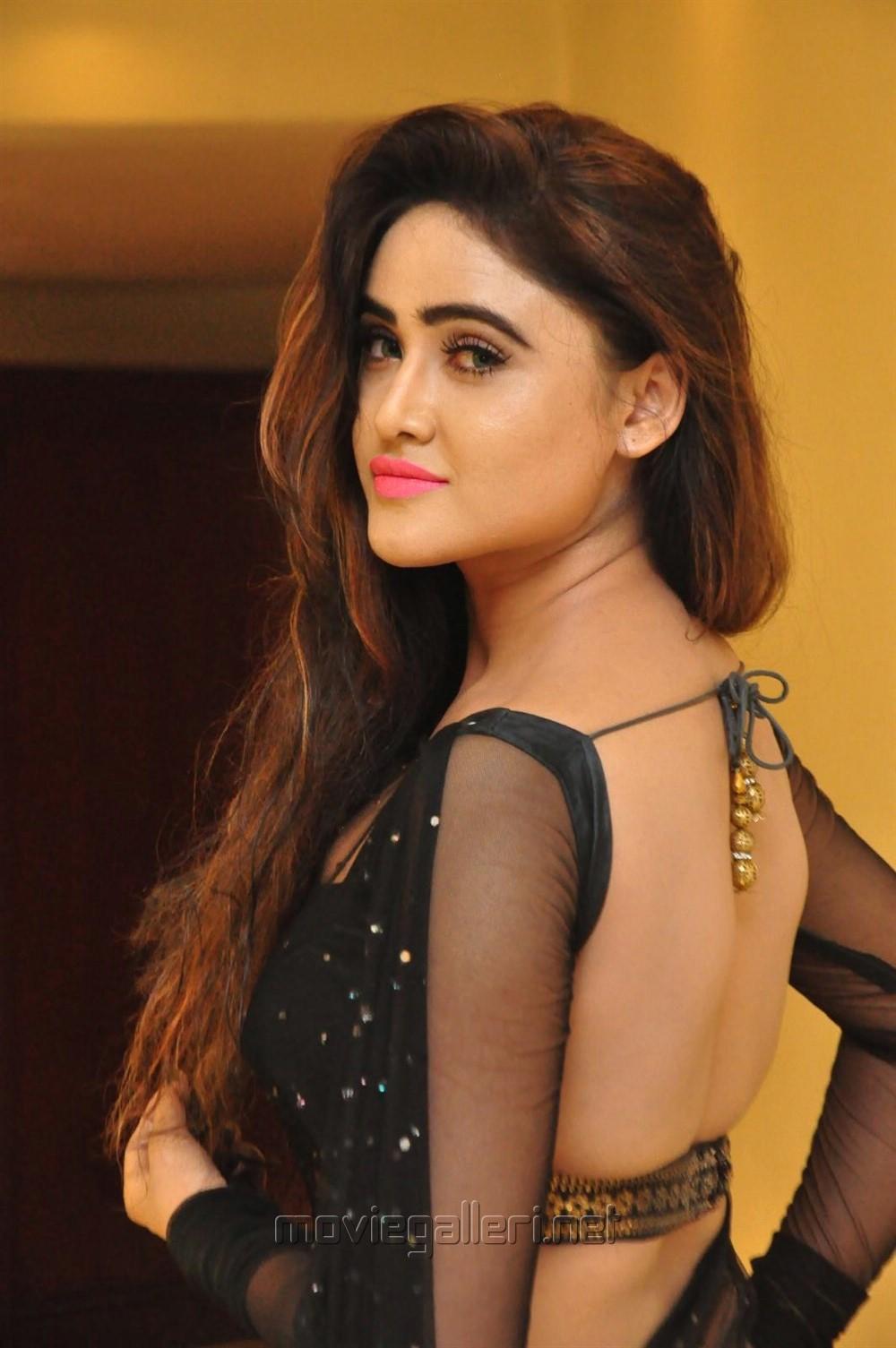 Actress Sony Charishta Black Saree Hot Photos