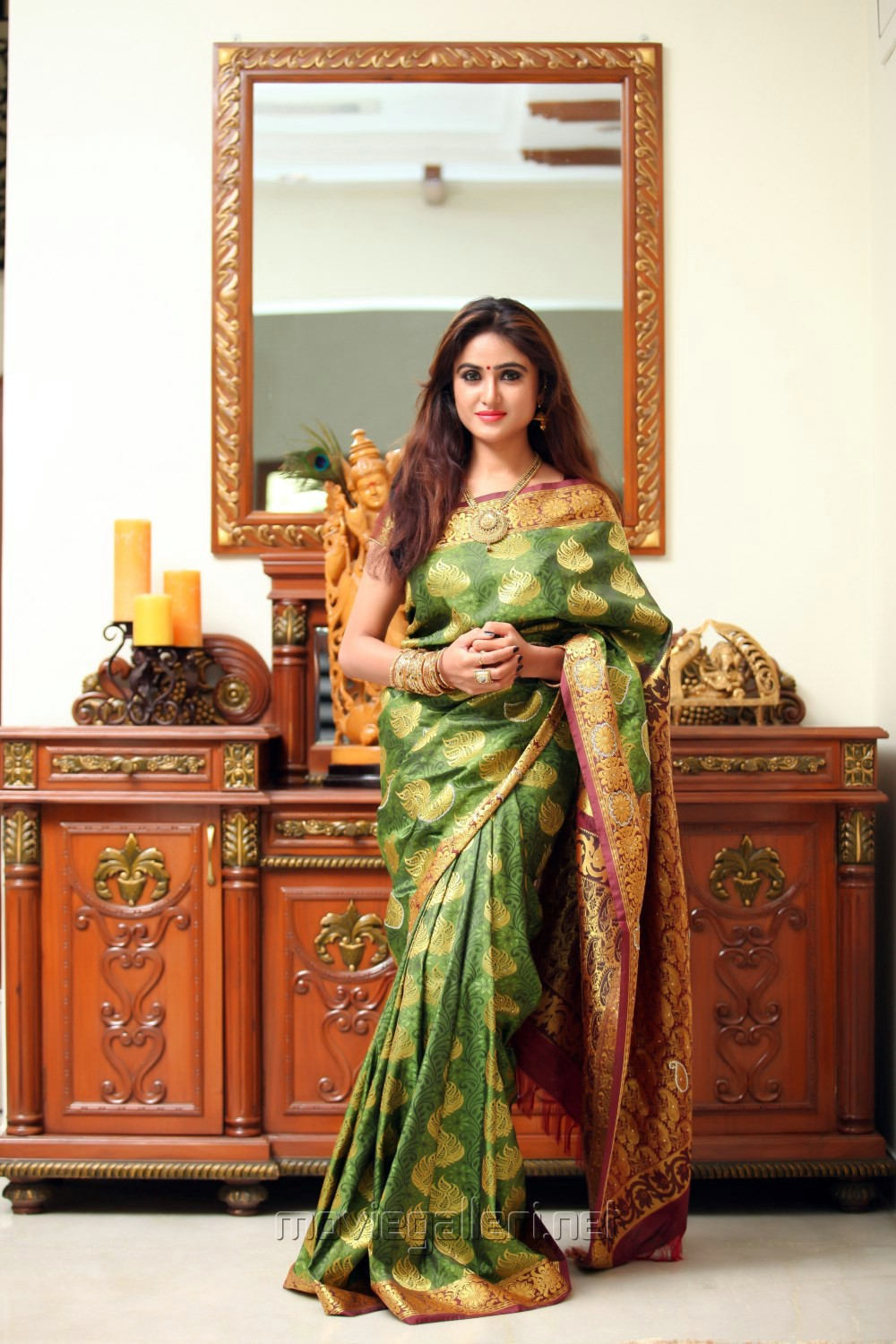 Actress Sony Charishta in Silk Saree Photoshoot Images