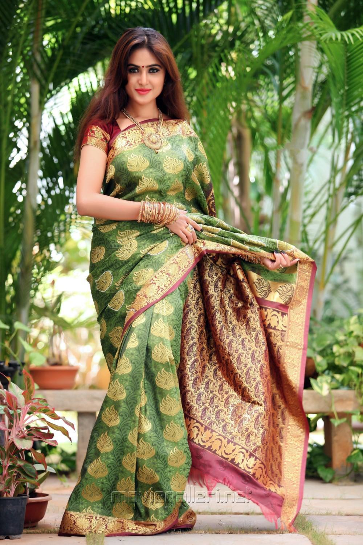 Actress Sony Charishta in Silk Saree Photoshoot Images
