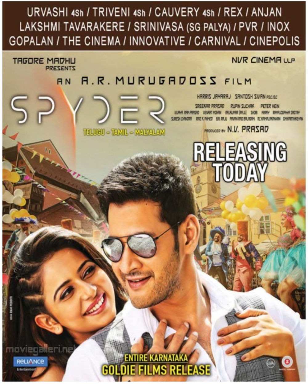 Rakul Preet, Mahesh Babu in Spyder Movie Release Bangalore Theatres List Poster
