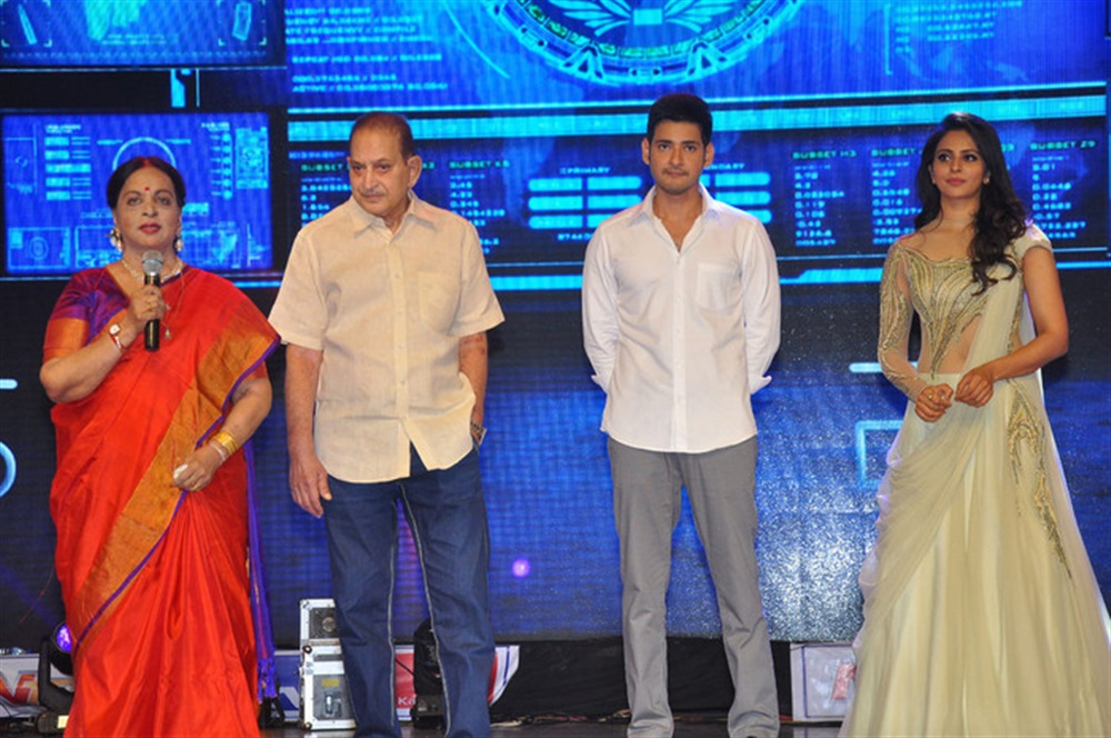 Vijaya Nirmala, Krishna, Mahesh Babu, Rakul Preet Singh @ Spyder Pre Release Event Stills