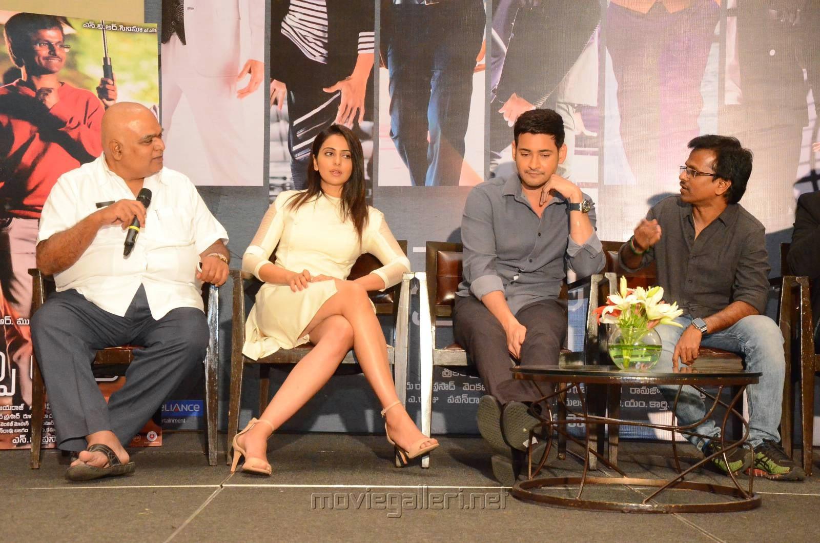 NV Prasad, Rakul Preet, Mahesh Babu, AR Murugadoss @ Spyder Press Meet Hyderabad Photos