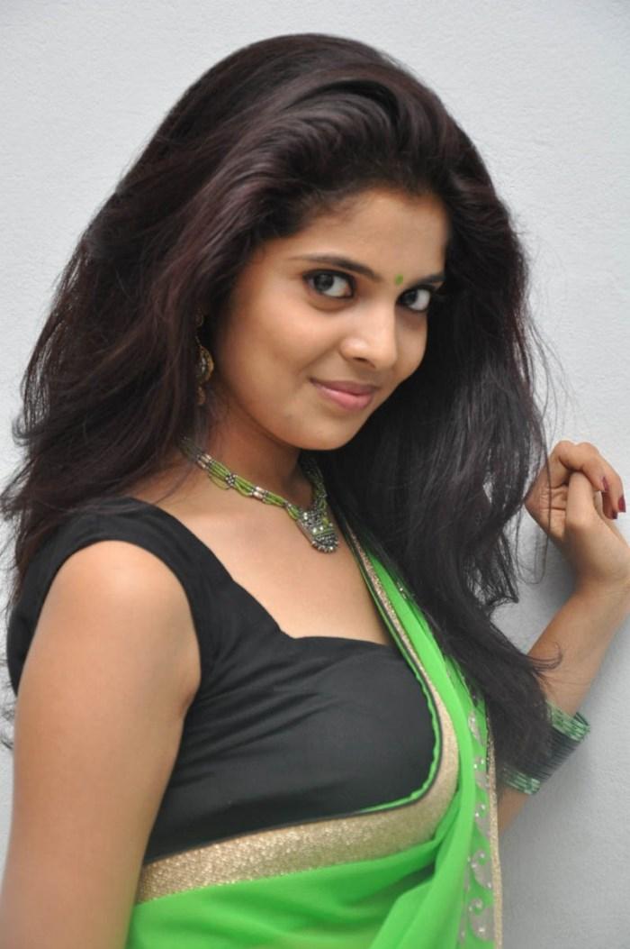 Telugu Actress Sravya in Green Saree Hot Stills